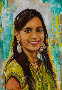 Photo to oil and acrylic bright colorful portrait textured painting of a young lady made using knife technique by artist Kumar for Koonchi