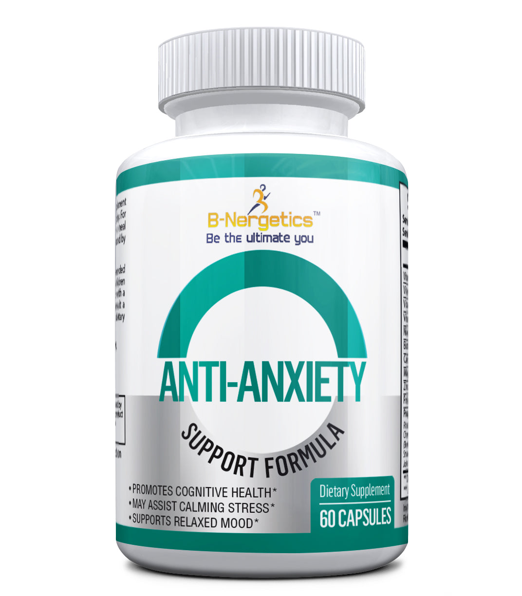 B-Nergetics Anti-Anxiety Formula - b-nergetics.com, stress relief, bottle 60 caspules, 1 month supply, all natural.