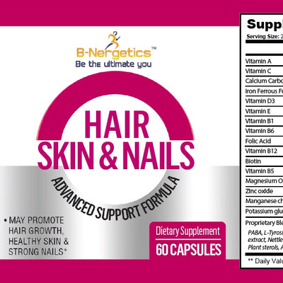 B-Nergetics Hair Skin & Nails Product label ingredient picture