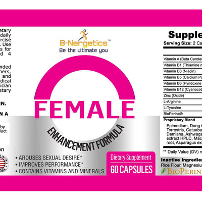 B-Nergetics Female Enhancement Product label Ingredients picture