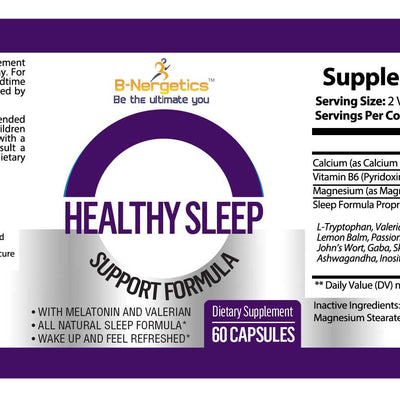 B-Nergetics Healthy Sleep Product Label Ingredients Picture