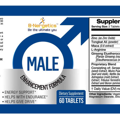 B-Nergetics Male Enhancement Product Label Ingredients picture