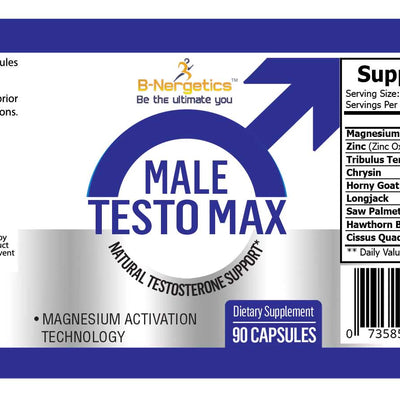 B-Nergetics Male Testo Max Product Label Ingredients Picture