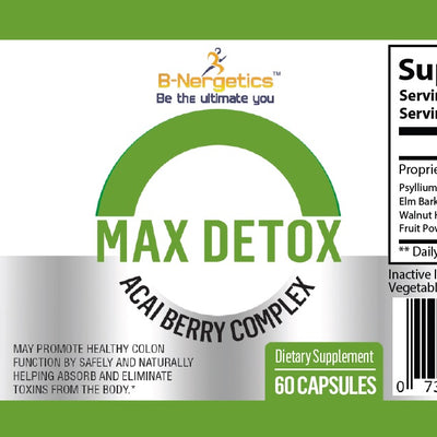 B-Nergetics Max Detox Product Label Ingredients Picture