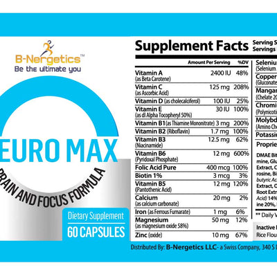 B-Nergetics Neuro Max Brain Support Ingredients Product Label