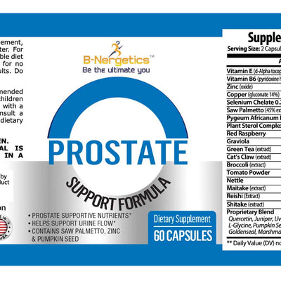 B-Nergetics Prostate Formula Product Ingredients Label Picture