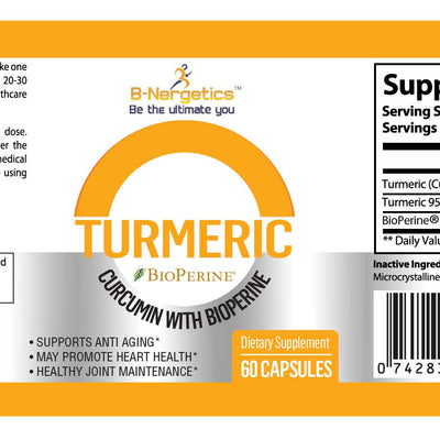 B-Nergetics Turmeric Curcumin Product Ingredients Label Picture
