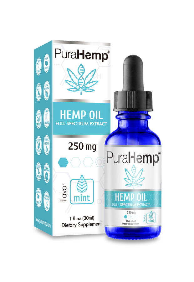 CBD Oil Drops <br> Mint Flavor <br> <strong>250 mg Hemp CBD Oil</strong>