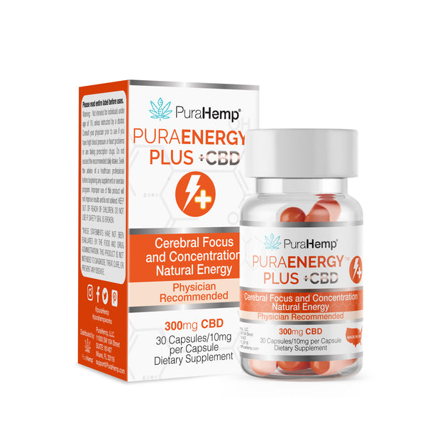 Energy and focus capsules with CBD nutraceutical supplement natural energy support and brain support cerebral focus and concentration capsules PuraEnergy plus CBD