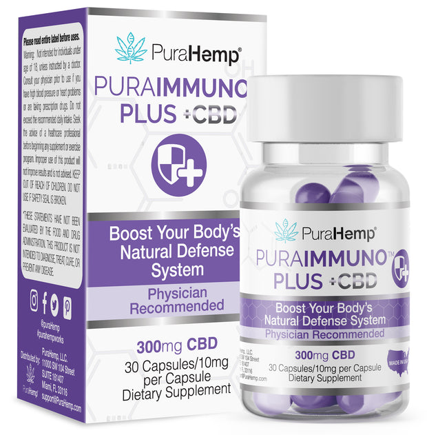 Immune system support plus cbd capsules with vitamin C hemp derived full spectrum cannabidiol boost natural immune defense system with PuraImmuno Plus CBD