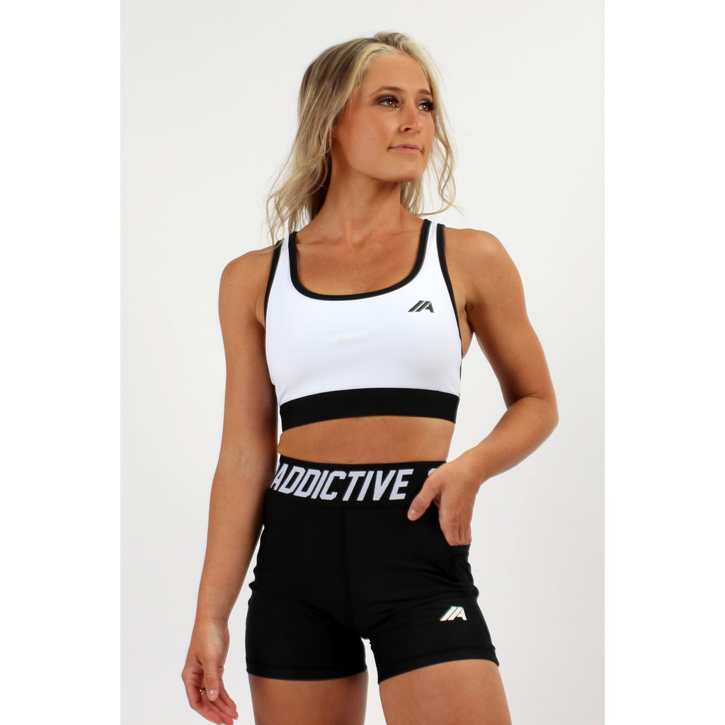 Atleta Series –  White & Black Sports Bra - 2 Addictive