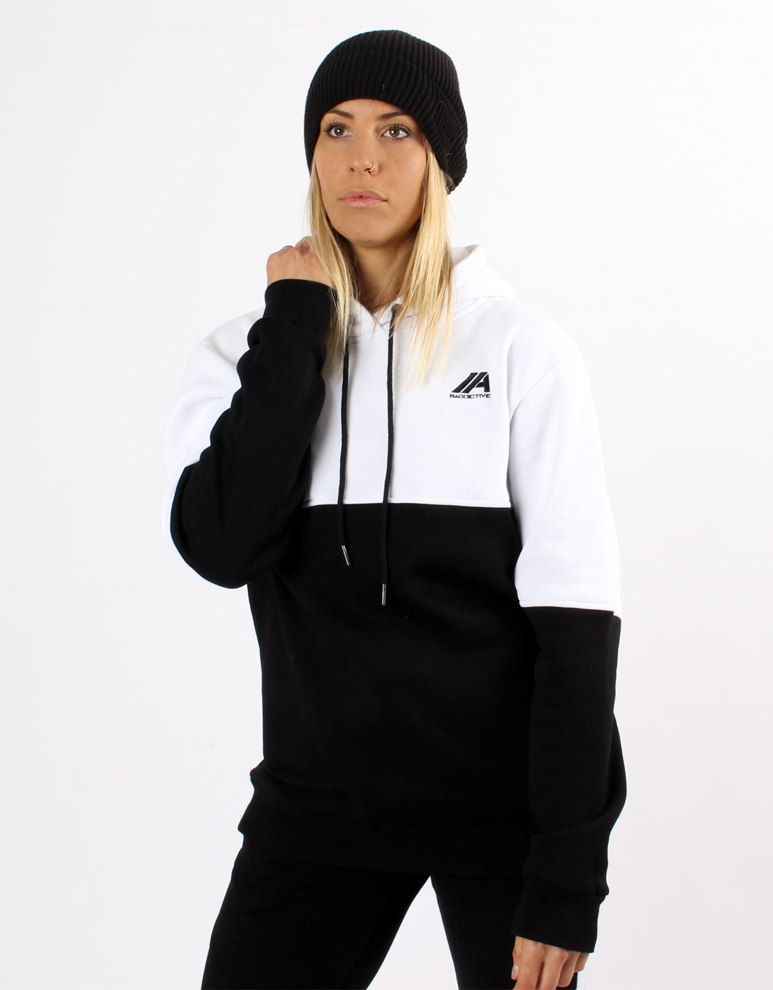Women's Dual Hoodie-  White/ Black - 2 Addictive