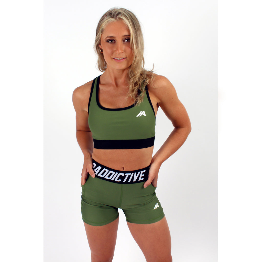 Atleta Series –  Khaki Sports Bra - 2 Addictive