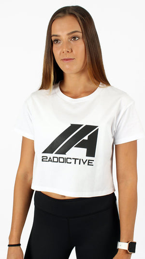 Luna Crop Tee - White - 2 Addictive