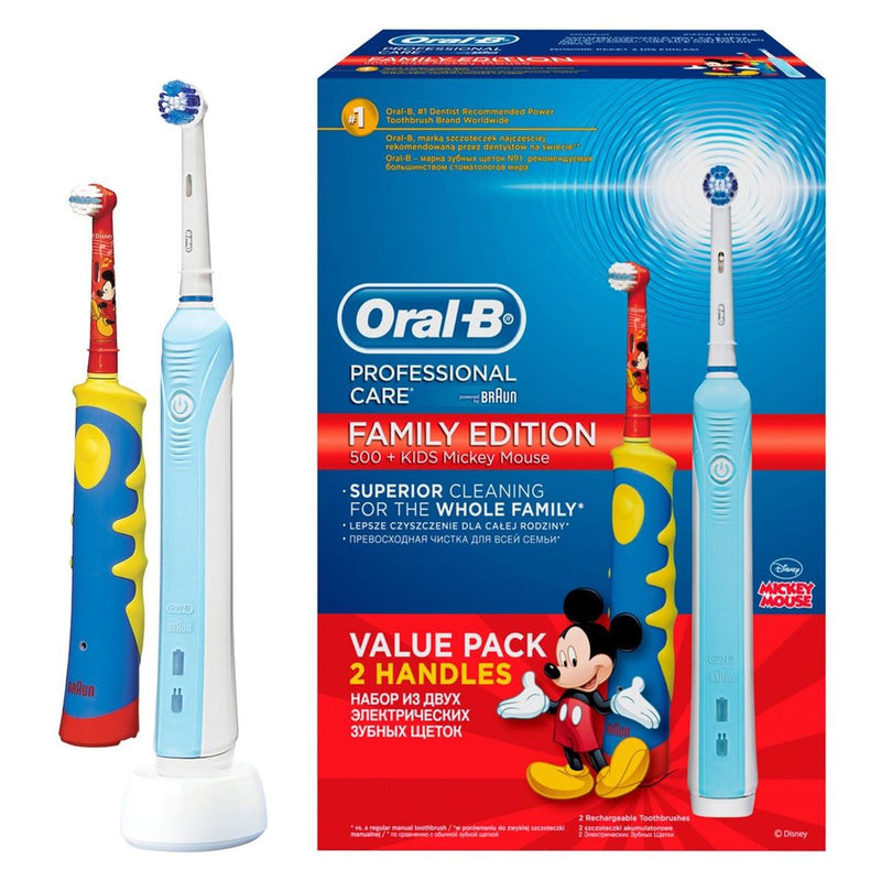 Oral-B Braun Family Pack Pro 500+ for adults and kids Mickey Mouse
