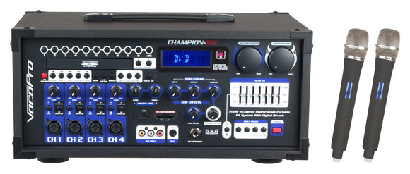 CHAMPION-REC 5 & 6 HEAD -200W 4-Ch. Karaoke Player with digital recorder & 2 UHF wireless Mics