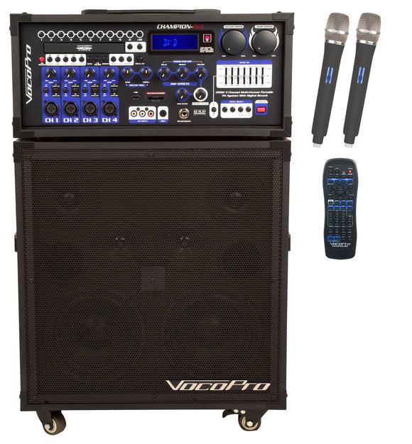 VOCOPRO CHAMPION-REC-9 200W 4-Channel Multi-Format Portable P.A. System with Digital Recorder