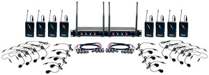 VOCOPRO Digital-Play-8 Eight Channel UHF Wireless Headset & Lapel Mic System