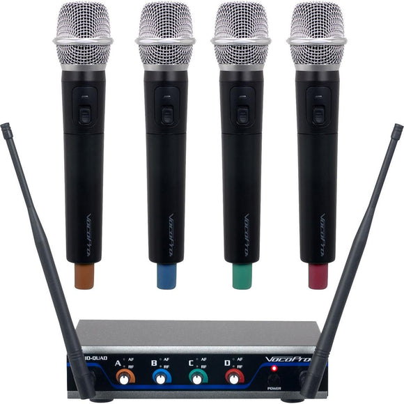 VOCOPRO Digital-Quad-H 4 CH. UHF Wireless Handheld Microphone System with Mic-On-Chip Technology