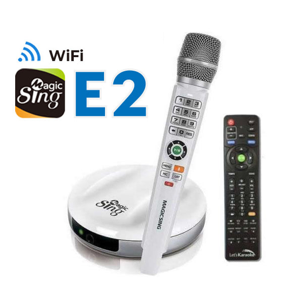 New 2018 MagicSing E-2 · Smart Home Karaoke System · Wireless Microphone · Stream Over 12,000+ English/American Songs & 220000+ International songs· Requires WiFi · Free 2-Month Subscription Code