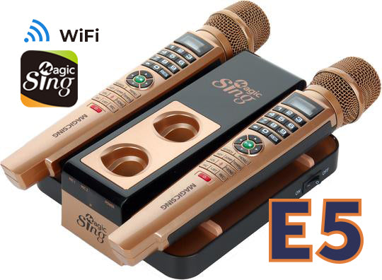 2018 MagicSing E5 Karaoke System · Two (2) Wireless Microphones · Stream Over 12,000+ English/American Songs & 220000+ International Songs· Requires WiFi · Free 2-Month Subscription Code