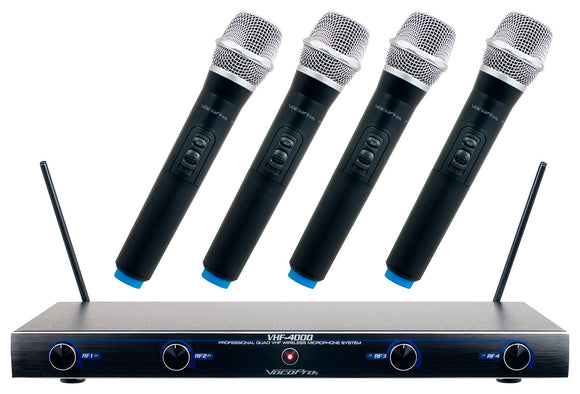 VOCOPRO VHF-4000 Professional Quad VHF Wireless Microphone System