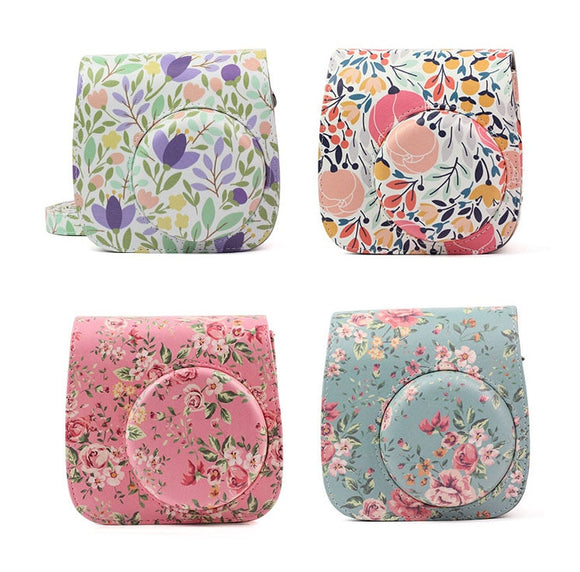 Fujifilm Instax Mini 9 8 Camera Bag Flowers PU Leather