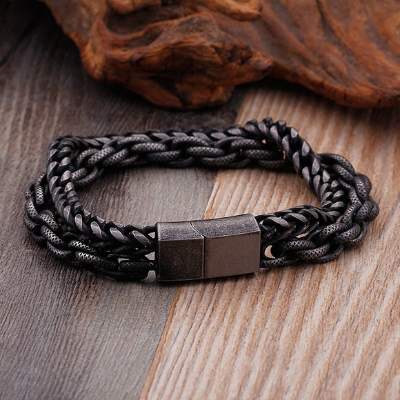Double Stainless Steel Chain Bracelet