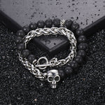 Load image into Gallery viewer, Skull Lava Stone Bracelet