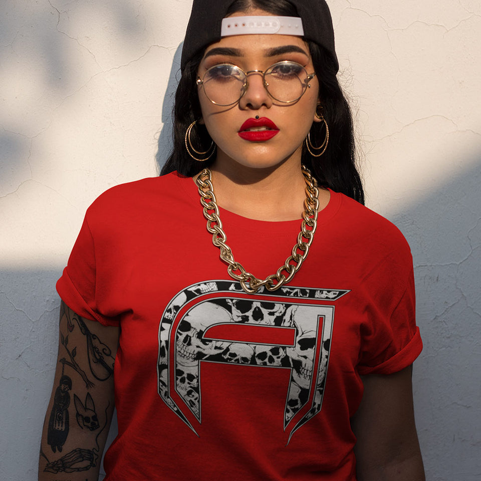 Woman wear The Aggressive Skully Tee Red