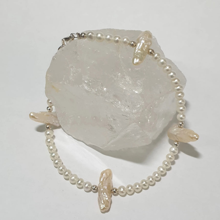 Biwa and Cultured Pearl Bracelet