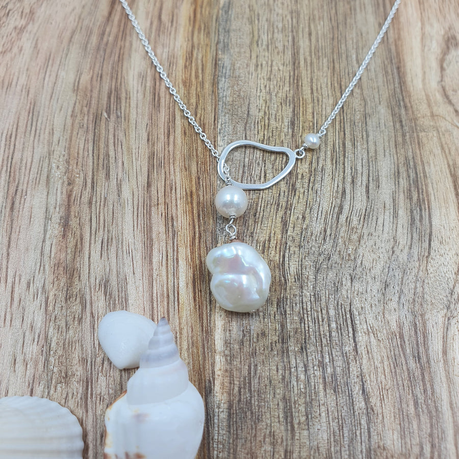 Keshi and Cultured Pearl Lariat Necklace Assorted