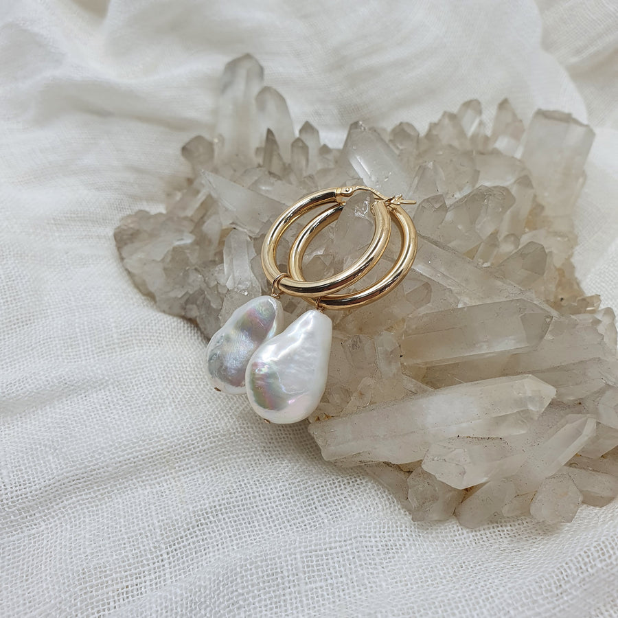 Large Pearl Yellow Gold Hoops