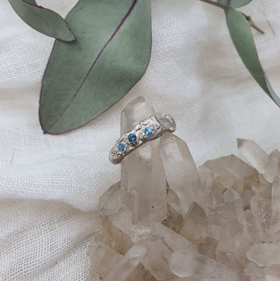 Sterling Silver Freeform Ring with Topaz & Diamonds