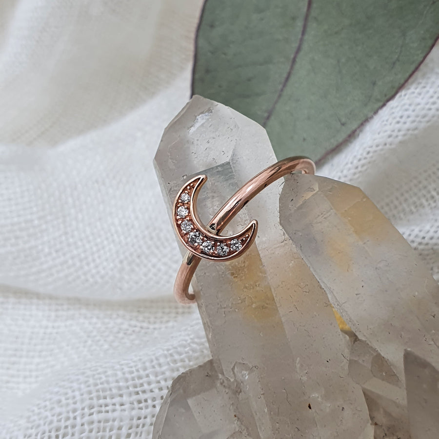 Rose Gold Moon Stacker Ring