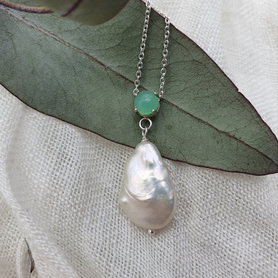 Chrysoprase and Keshi Pearl Sterling Silver Necklace