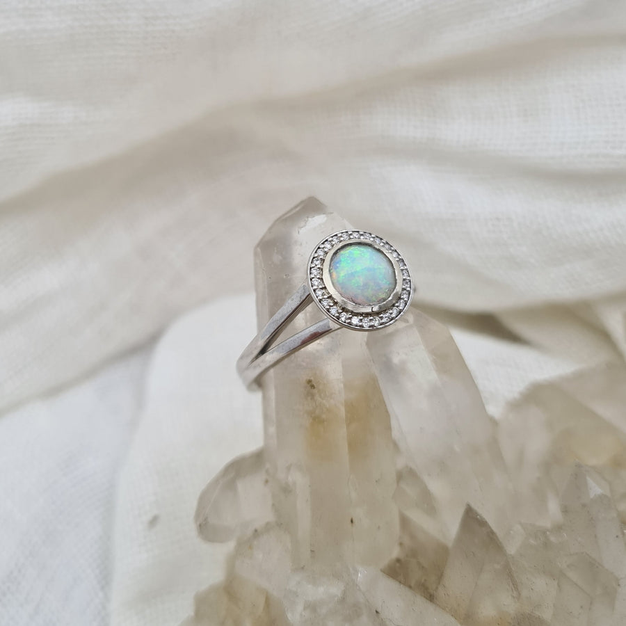 Crystal Opal and Diamond Halo White Gold Ring