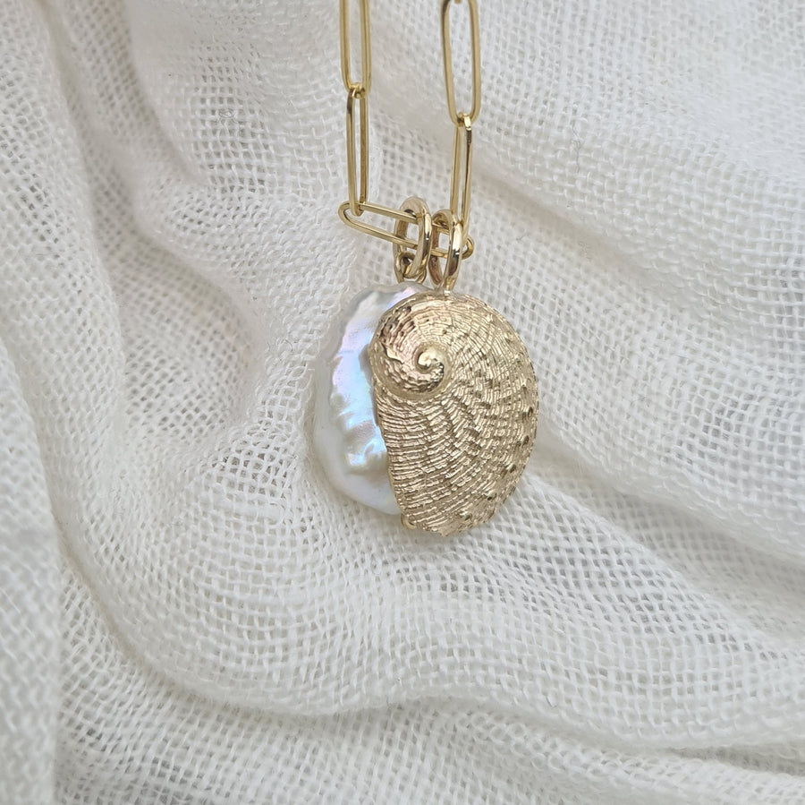 9ct Yellow Gold Abalone Shell Pendant with Keshi Pearl