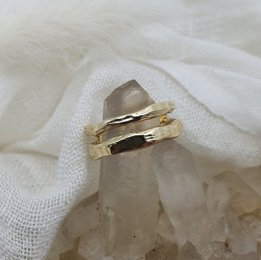 9ct Gold Textured Split Band Ring