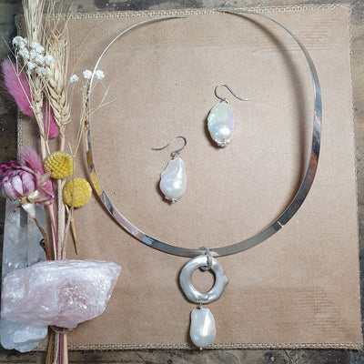 Sterling Silver Free-form and Baroque Pearl Necklace