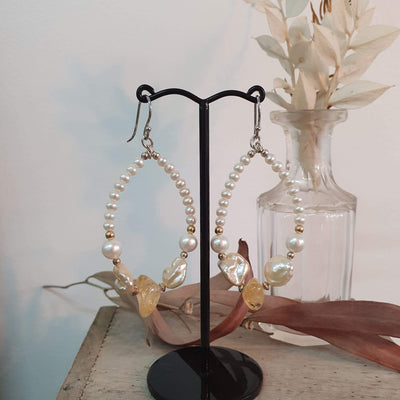 Citrine and Freshwater Keshi Pearl Statement Earrings