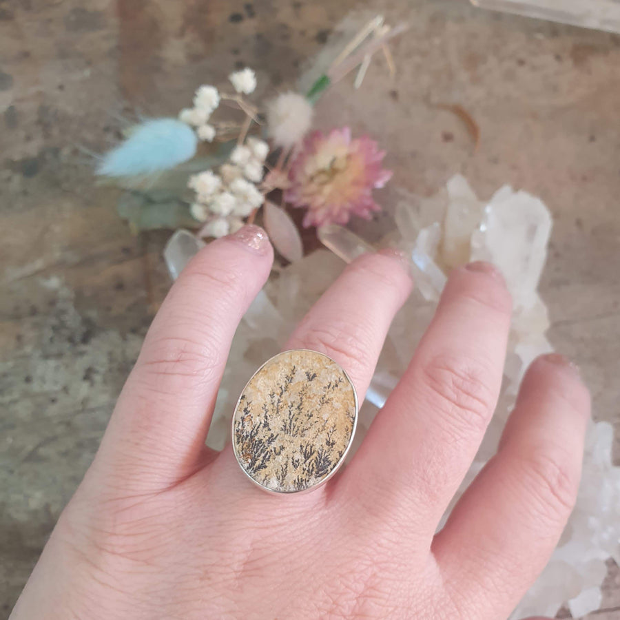 Sterling Silver and Dendritic Limestone Ring