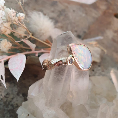 Rose Gold Opal and Diamond Ring