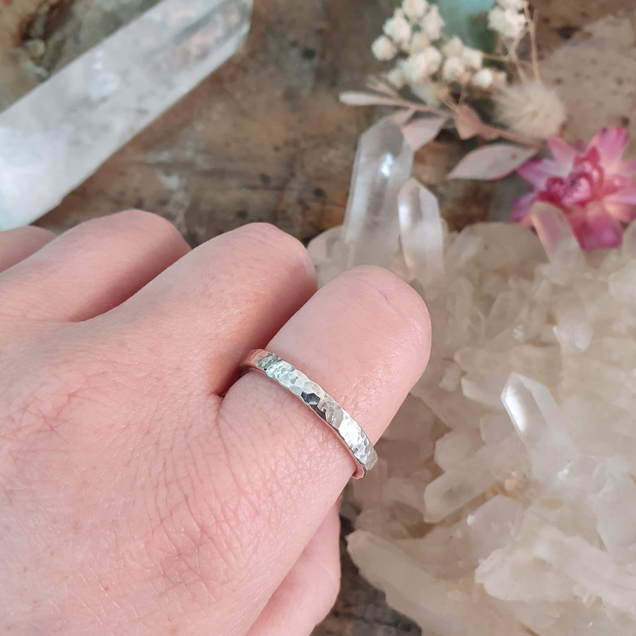 Sterling Silver Hammer Texture Ring