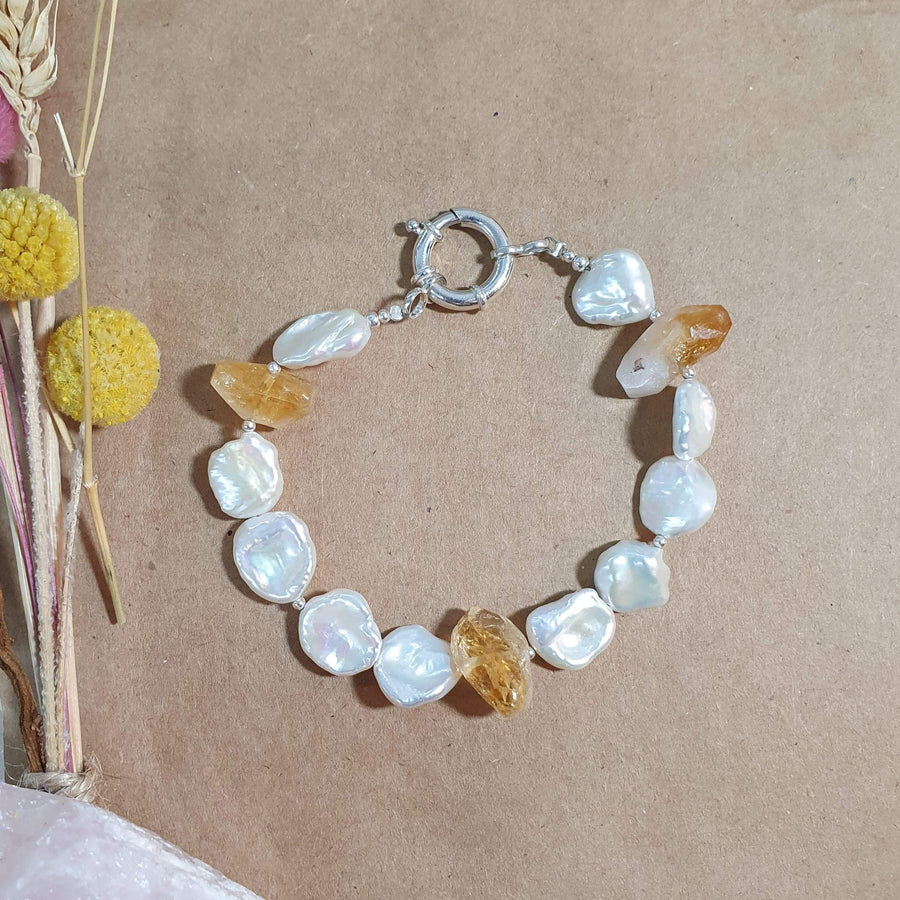 Citrine and Pearl Bracelet
