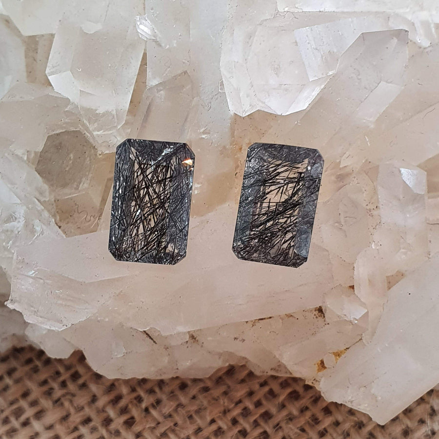 Tourmalinated Quartz Pair