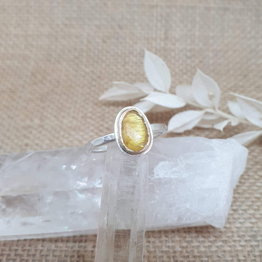 Gold, Sterling Silver, & Yellow Sapphire Ring