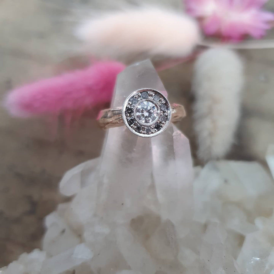 Rose Gold Salt and Pepper Diamond Halo Ring