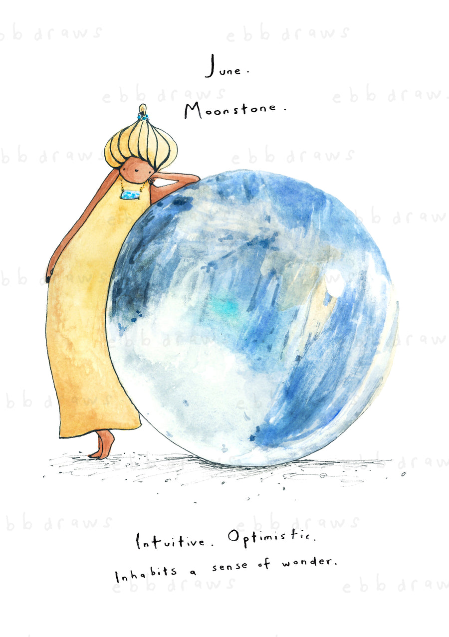 June: Moonstone Birthstone Card