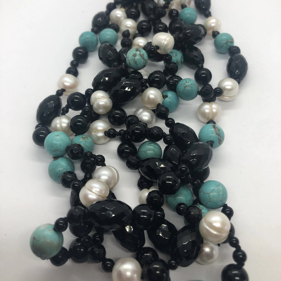 Onyx, Turquoise and Fresh Water Pearl necklace